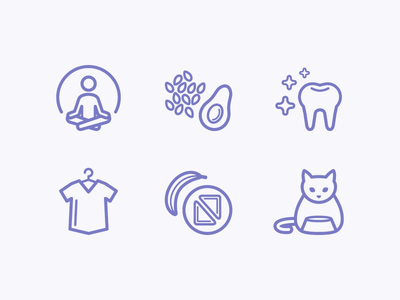 Everyday Icons meditate teeth day life food pets health lifestyle wellness flat icons