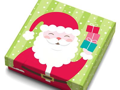 Santa Gift Card Box surface design festive santa cute vector illustration illustration gift box paper box package design gift card box christmas holiday