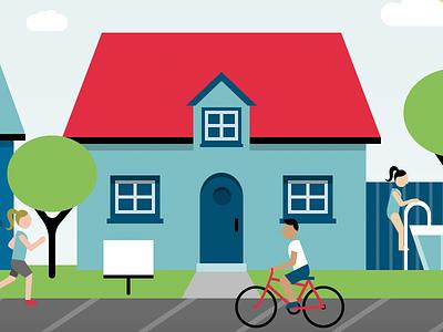 Real Estate Illustration - Summer website illustration for sale property house real estate geometric illustration flat vector illustration