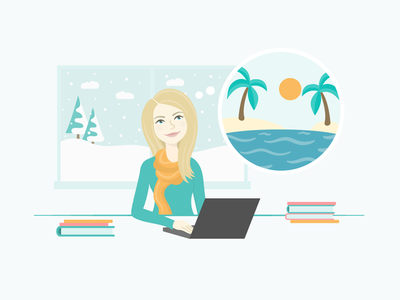 Travel Daydream Illustration website app woman winter island vacation travel flat vector illustration