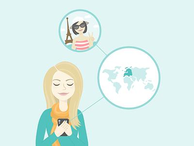 Travel App Illustration woman phone paris map world app travel flat vector illustration
