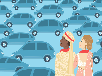 Editorial Illustration vector illustration bride groom events indian wedding wedding car uber
