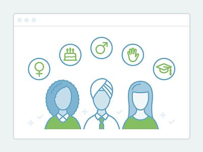 Illustration for Ideal employment recruitment hr tech software illustration flat line art vector