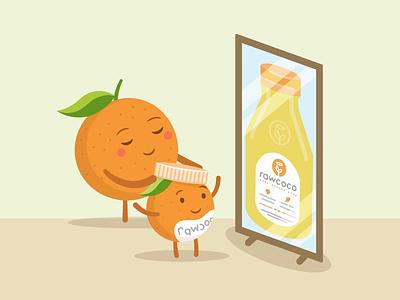 Characters for Organic Restaurant vegan organic food restaurant cute illustration flat vector fruit character orange