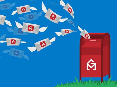 Illustration for GMass envelope flat mailbox gmail gmass marketing email vector illustration