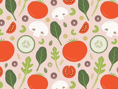 Fresh Salad pattern adobe illustrator flat pink mushroom spinach tomato salad vegetable illustration vector pattern surface pattern design