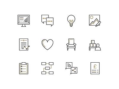 LuxDeco Icons line icons line art icons interior design furniture retail icon design