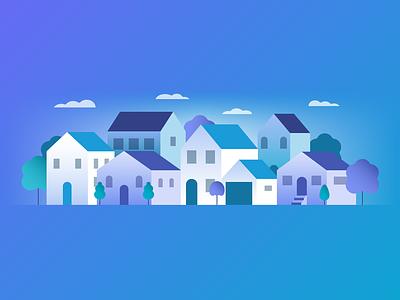 House Illustration real estate residential house adobe illustrator vector artwork gradient geometric flat illustration vector