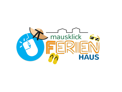 Mausklick Ferienhaus light colors flat design photoshop psd logo airbnb rentals holiday