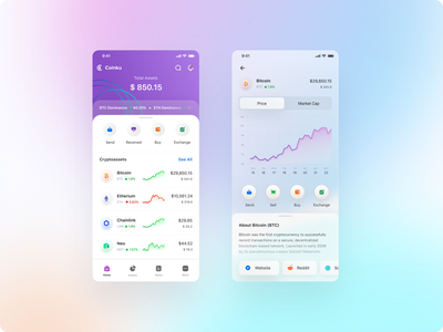 Crypto CoinKu Wallet assets ui chart bitcoin doge coin wallet ui clean crypto wallet crypto