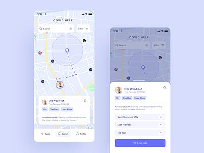 Corona / COVID 19 - Assistance app concept ui design app design swipe navigation map corona concept ux ui app