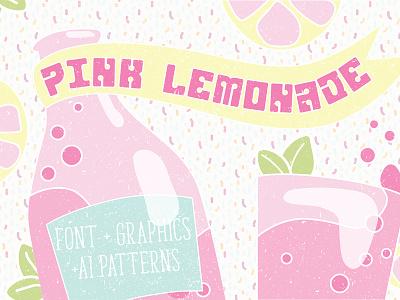 Pink Lemonade Font & extras ai patterns art deco pop art typeface display font block font fun font