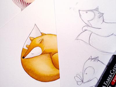 Fox Watercolor Work In Progress woodland clipart watercolor illustration fox