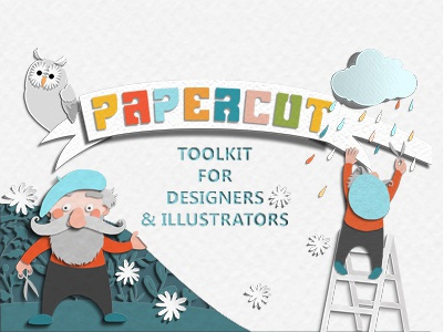 Papercut toolkit cover text effect illustration photoshop digital papercut