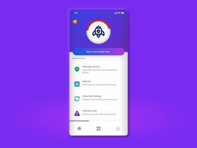 Mobile boost app ui concept