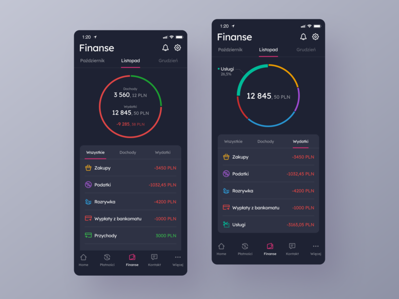 Millenium Bank App Redesign - Finance Reports - Dark Version finance finance app bank app banking application app interface ux ui