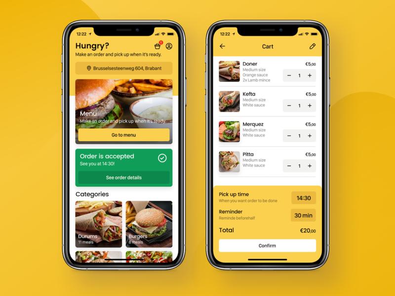 Food Ordering App - Main and Cart Screens notification feed list cart food ordering app food app design application app ux interface ui