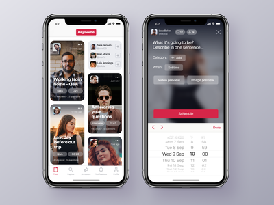 Broadcasting App - Feed and Announcement Screens social app broadcast video feed design application app ux interface ui