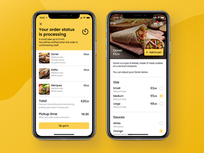 Food Ordering App - Order Summary and Product Screens summary product food ordering app food app design application app ux interface ui