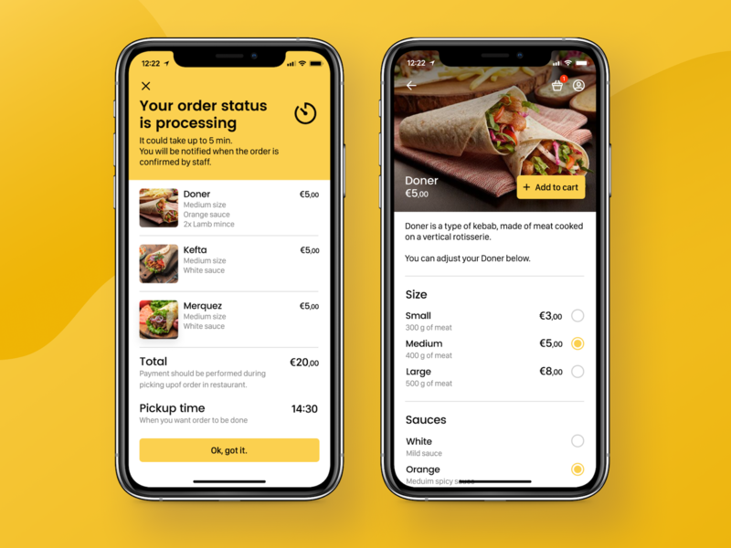 Food Ordering App - Order Summary and Product Screens