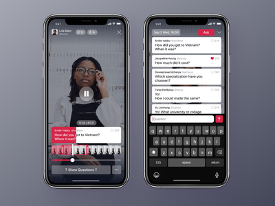 Broadcasting App - Active Broadcast Screens design application app ux interface ui