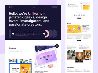 Unikorns Website - Main Page ui interface website web design main page landing portfolio showcase unikorns web ux blog