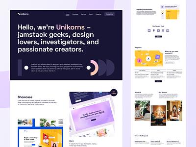 Unikorns Website - Main Page ui interface website web design main page landing portfolio showcase unikorns web ux blog