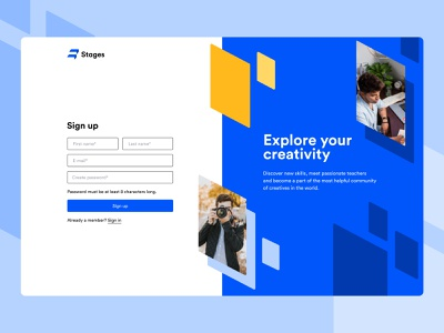 Stages Website - Sign Up register form login startup signin sign in sign up signup interface unikorns web application design app ux ui