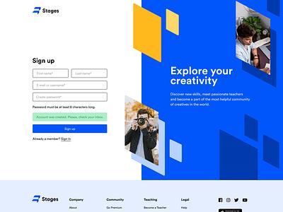Stages Website - Sign Up register form login startup signin sign in sign up signup interface unikorns web application design app ux ui