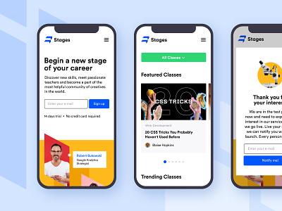 Stages Website - Mobile Screens startup unikorns web application design app ux interface ui