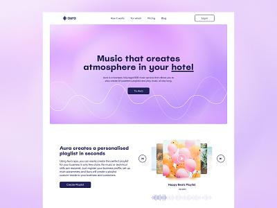 Aura Website - Main Page hero section website landing home page homepage web unikorns application app design ux interface ui