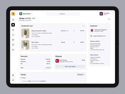 Attic - Order Page payment product store commerce order unikorns application app design ux interface ui