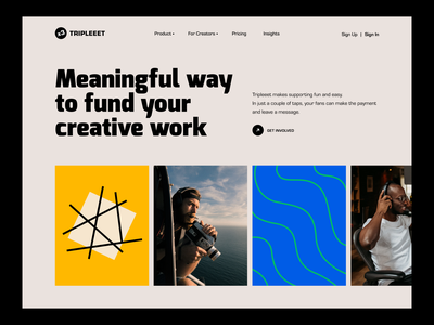 Tripleeet | Membership Platform Website font unikorns graphic pattern bauhaus website hero design ux interface ui