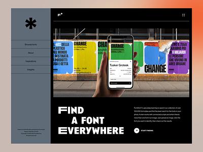 Fontifind*©   Font Detection App Website landing hero website unikorns application app design ux interface ui