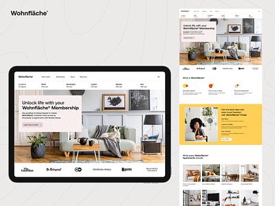 Wohnfläche® | Landing Page subsription landing main page homepage interior lease apartment flat branding unikorns application app design ux interface ui
