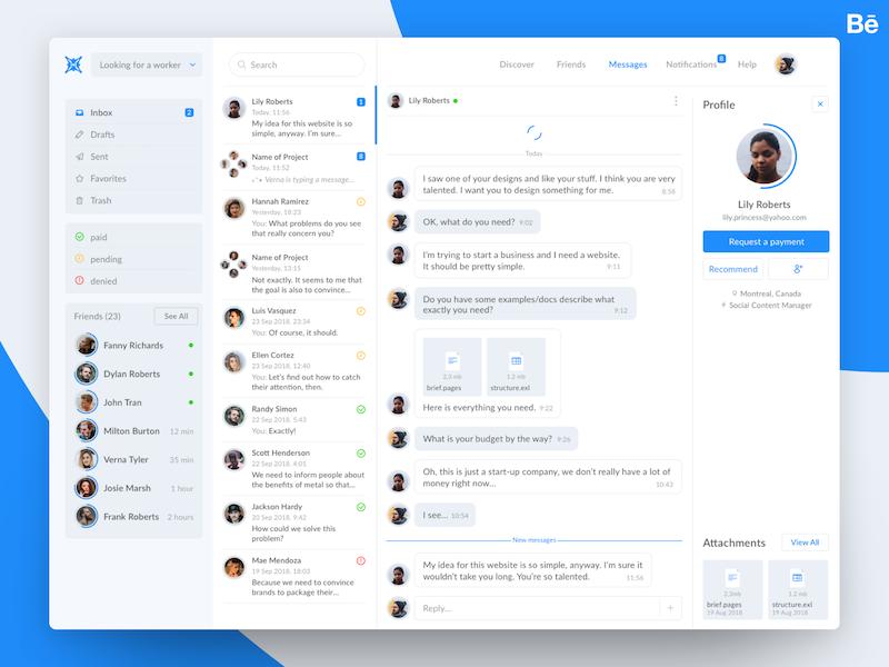 Radial Hub - Inbox interface payment chat platform inbox app web ux ui