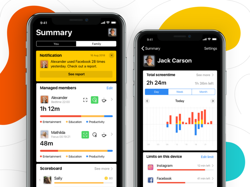 Screentime Manager App - Parent Side feed cards graphs interface application fireart studio fireart app ux ui