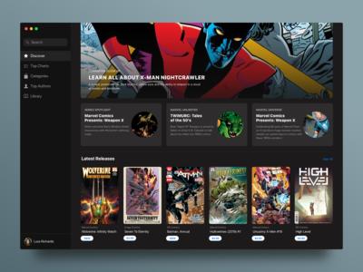 Comic Book Store - Main ux ui macos interface application