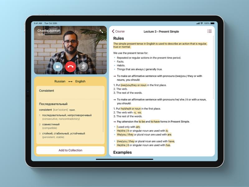 BeLingua - Class Session design application interface app ux ui
