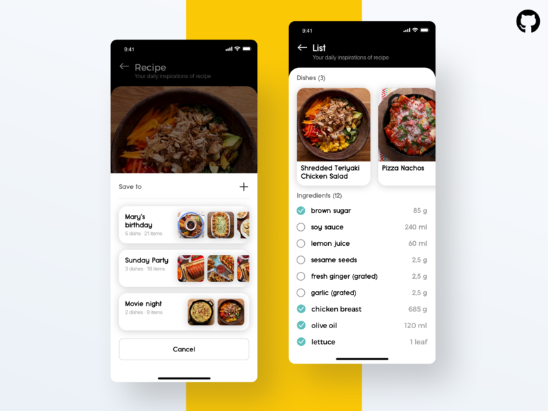 Essen. Modal and checklist. React Native App checklist list view recipe app recipe food interface design application app uidesign uiux ui