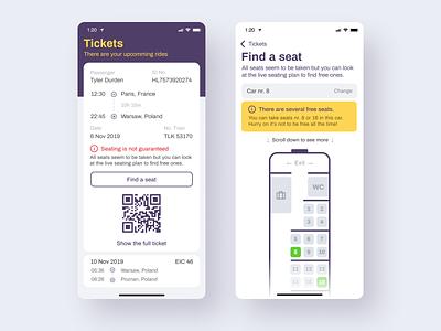Seat Finder - Style exploration. Light Version. card transport train plan ticket design application app ux interface ui