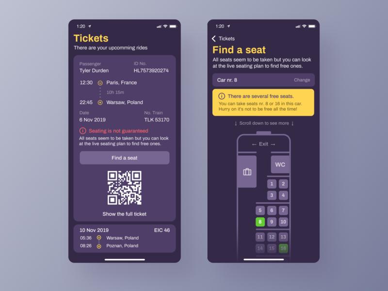 Seat Finder - Style exploration. Dark Version. booking ticket card travel design application app ux interface ui