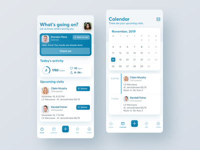 What's going on doc? - Medical App card calendar activity booking medical interface design application app ux ui