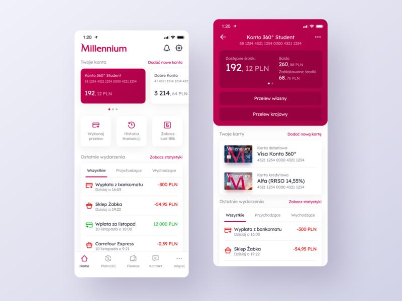 Millenium Bank App Redesign - Home & Account screens finance app finance account banking bank app design application app ux interface ui