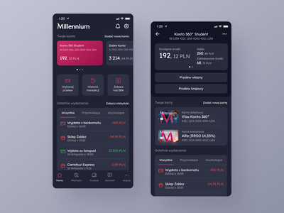 Millenium Bank App Redesign - Home & Account screens - in Dark finance app bank app finance banking design application app ux interface ui