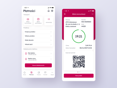 Payments and Public Transport Ticket Screens. payments transport ticket banking bank app card design application app ux interface ui