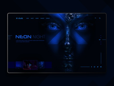 Landing page concept creative cool abstract blue neon night club neon concepcion background design landing page landing