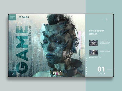 Landing page for game studio/ UI design landing page design user interface landing design ui landing abstract background cover landing page design abstract