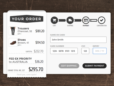 Daily UI 002 - Credit Card Checkout daily ui retro rustic 002 ui