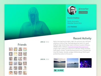Daily UI 006 - User Profile daily ui dosis playful mapped gradient green profile user 006 ui
